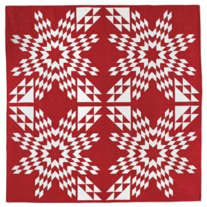Simply Touching Stars Quilt, a red and white quilt by Linda Pumphrey