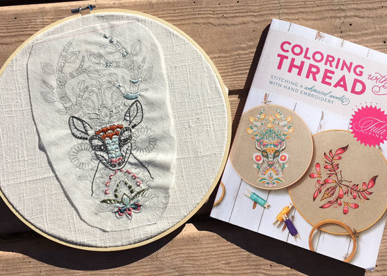 My hand embroidery next to Tula Pink's book Coloring with Thread