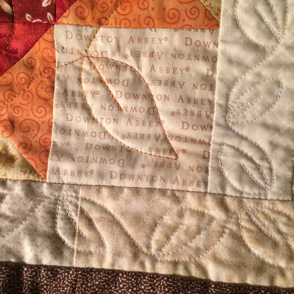 close-up of the free-motion quilting