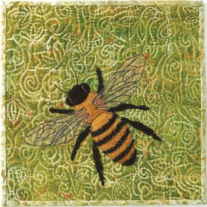 "Bee art quilt by Nanette S. Zeller called ""Surveillance Drone"""