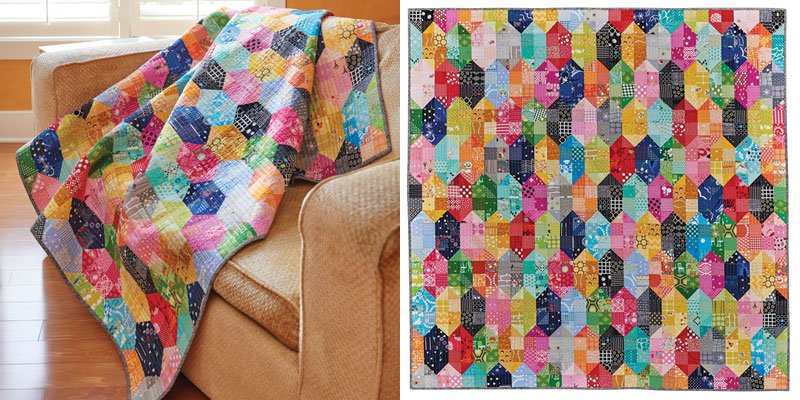 """Scrappy Beehive"" a modern quilt pattern by Jennifer Chon"