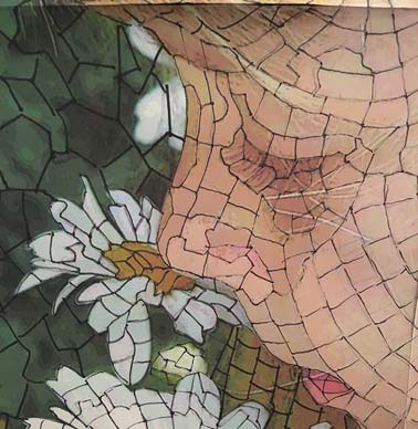 Draw the contour lines of the mosaic for your art quilt