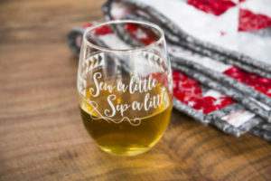 Valentine's Gifts for Quilters: Wine Glass