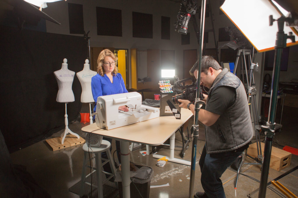 """Sara Gallegos on the set of """"Absolute Beginner Machine Embroidery"""""""