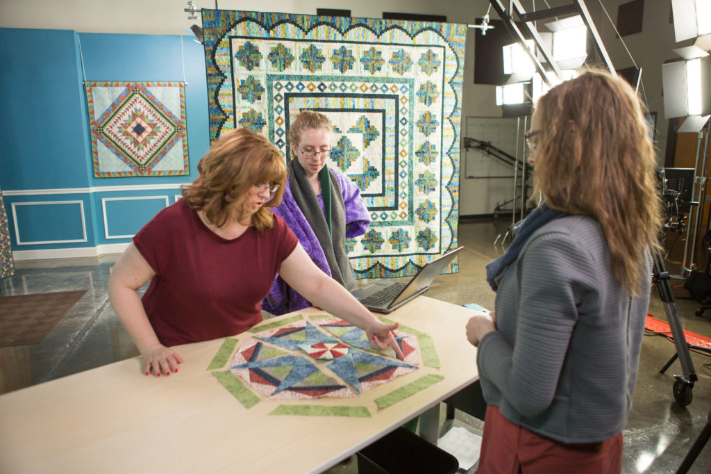 Jenny Kae Parks (left) and Caitlin Dickey (right) walk through the steps of a tutorial before taping an episode of the Morris Star video series