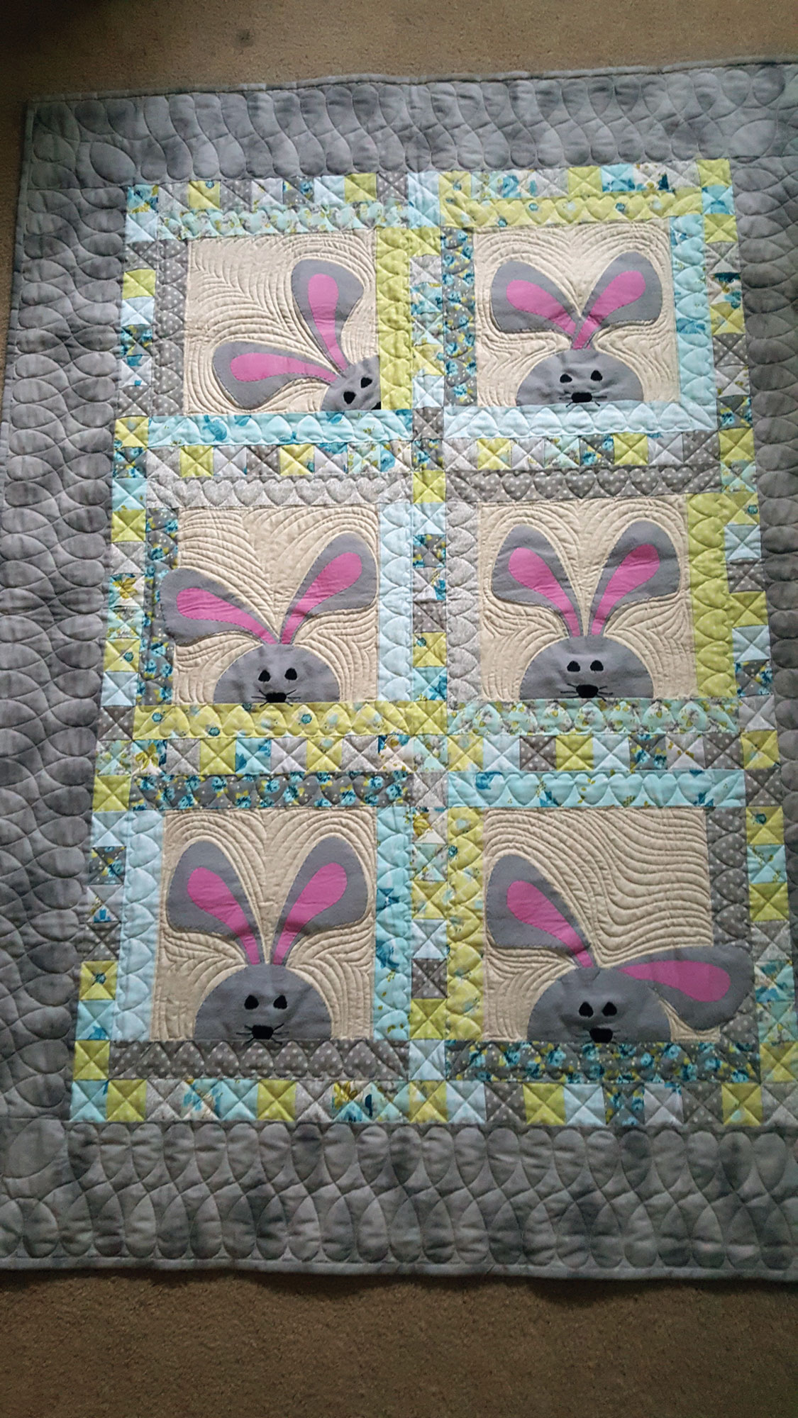 Peek-a-Boo Bunnies made by Lovina Keim, from Quiltmaker March/April 2017