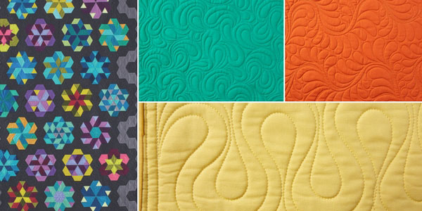 A project and quilting motifs featured in Longarm Quilting Workbook
