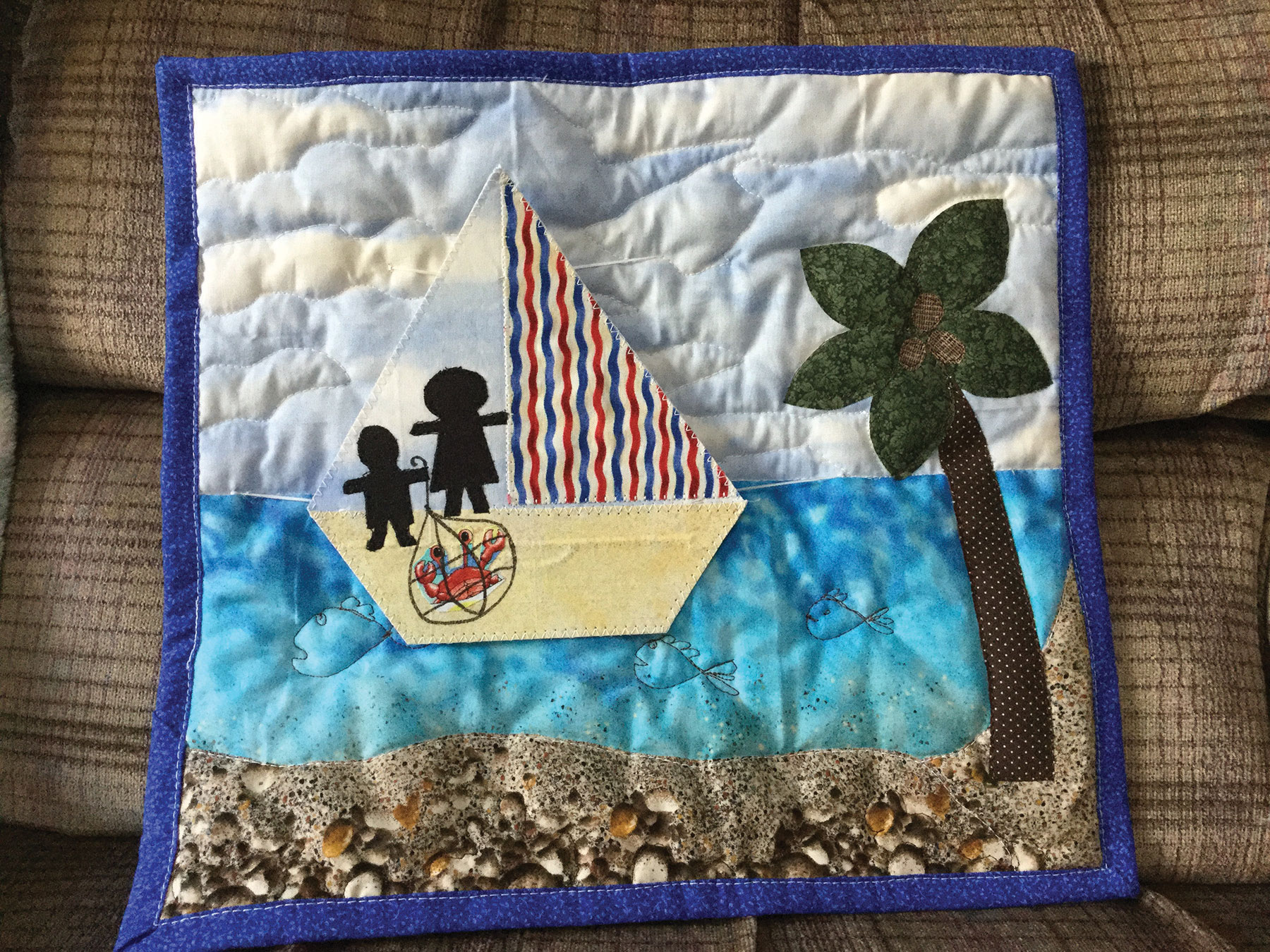 Beach Bum variation designed and made by Diane Palmer and grandson Nathan, from Quiltmaker Sept/Oct 2017