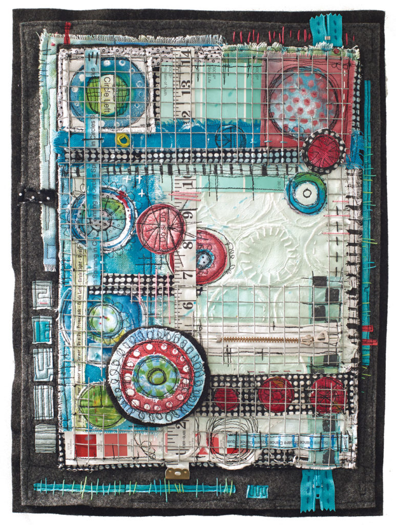 Upcycled Art With Found Objects And Metal by Libby Williamson called Square Dance