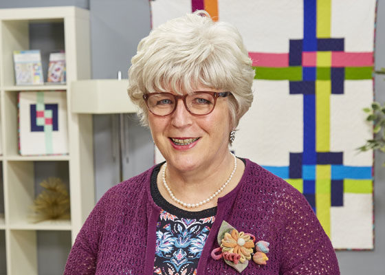 Quilter Catherine Redford on the set of her online course.