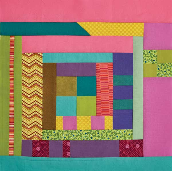 Anissa's funky Log Cabin mini quilt