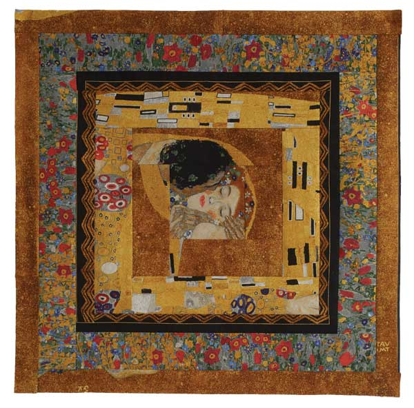 Gigi's version of a Log Cabin block using a fussy-cut Gustav Klimt panel