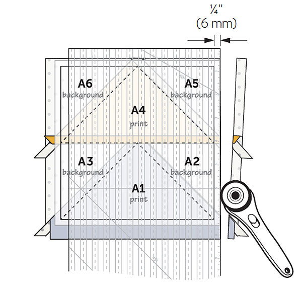 This diagram points out the trim line on a paper piecing template