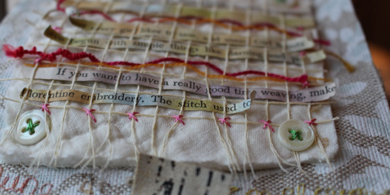 Prayer flag by Vivika DeNegre using found objects and metal embellishments