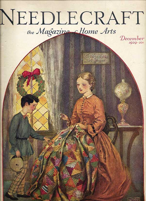 1929 Christmas nostalgia portrayed a scene from the 1860s: Mother just finishing a log cabin quilt with red centers.