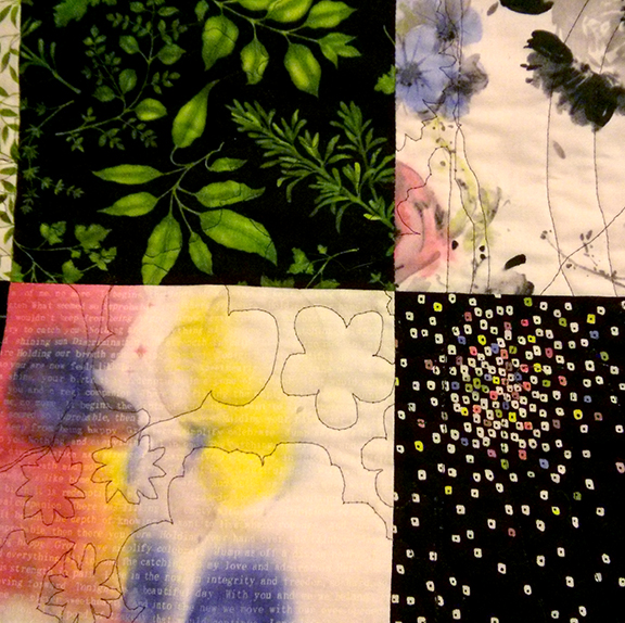 close up of some painted print fabrics