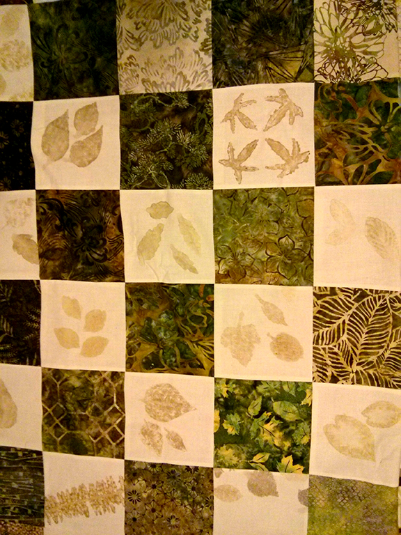 leaf pounded quilt top