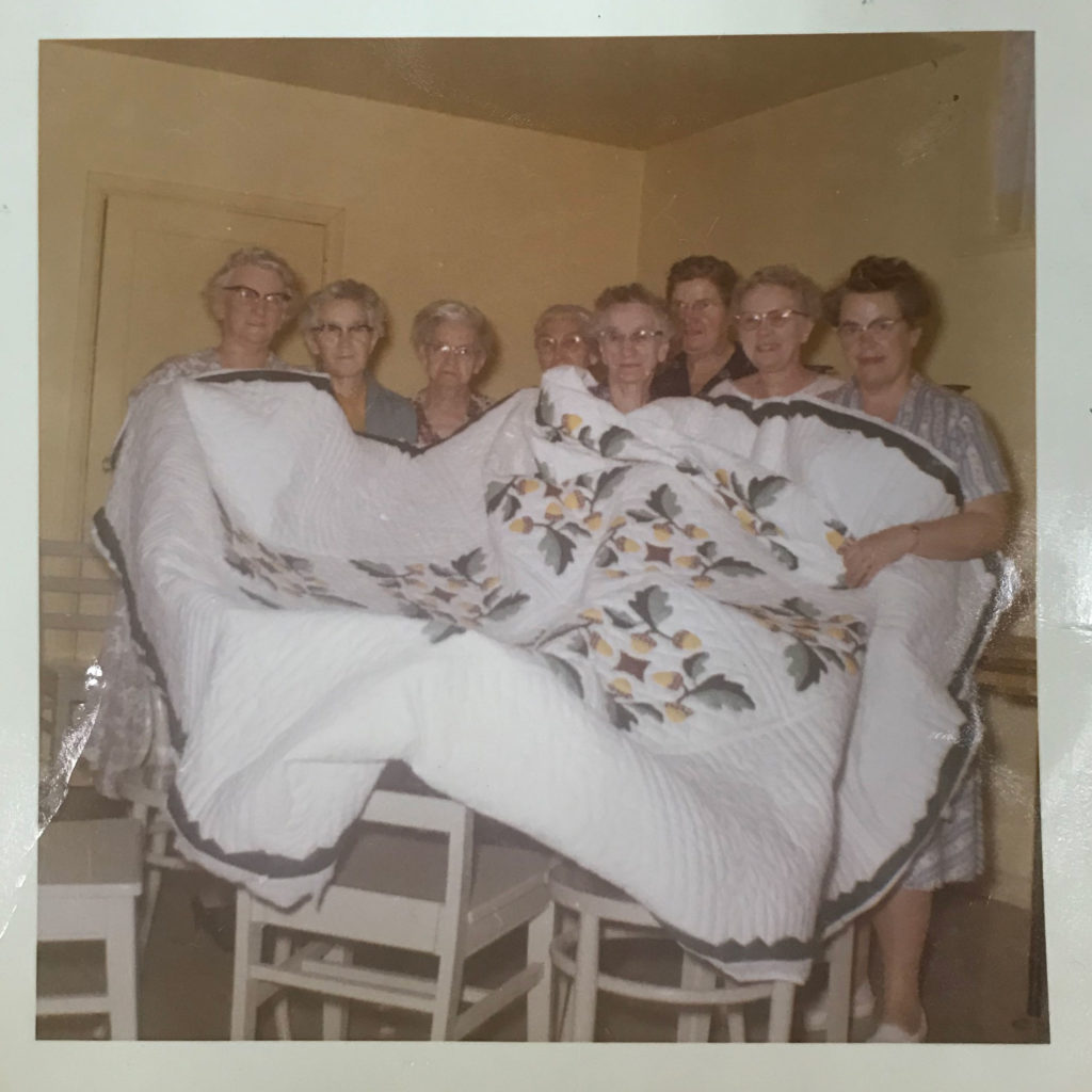 a 1959 snapshot of my great grandmother's quilting bee in Salt Lake City