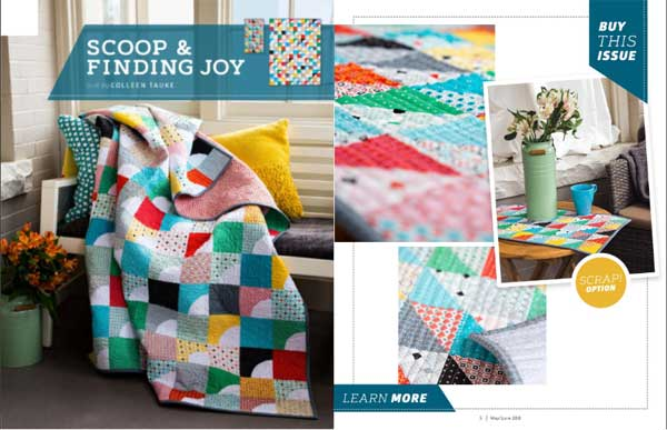 Styled and detail shots of Scoop & Finding Joy from the Quilting Quickly May/June 2018 lookbook