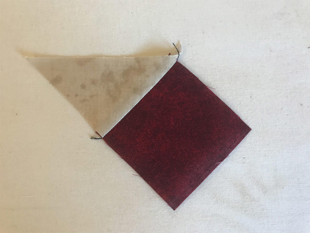 Stellar Elegance Mystery Quilt Clue 1 - Attaching Triangle with a Square