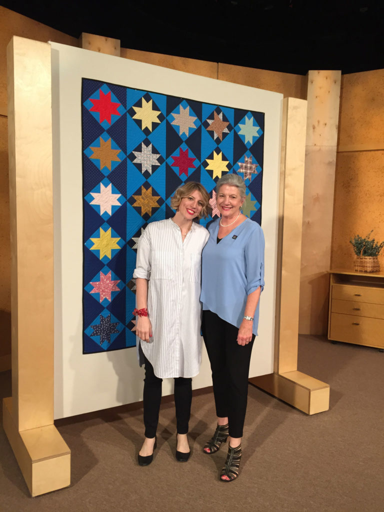 Marianne Fons and Mary Fons with Piecing a Blue Streak on the set of Fons & Porter's Love of Quilting