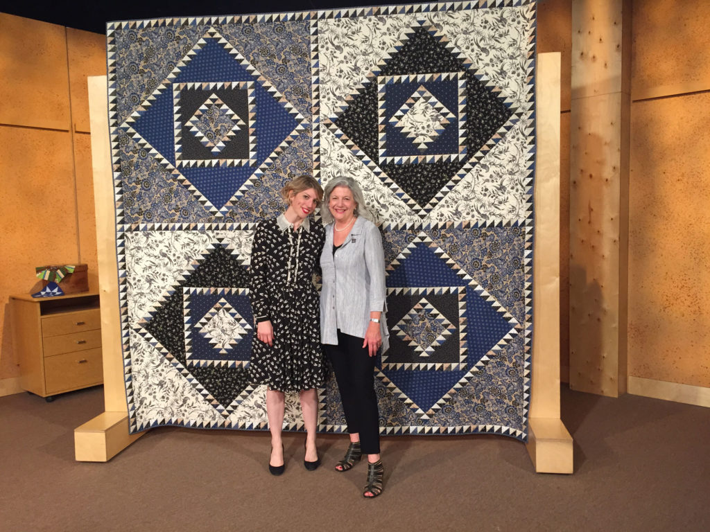Marianne Fons and Mary Fons with Trellis on the set of Fons & Porter's Love of Quilting