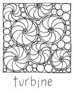 Drawing of Susan's turbine free-motionquilting motif.