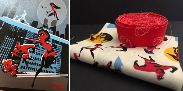 Incredibles 2 Fabric panel along with the backing and binding needed for the quilt.