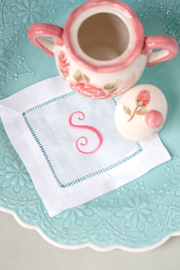 Monogramed napkin from the book Modern Machine Embroidery