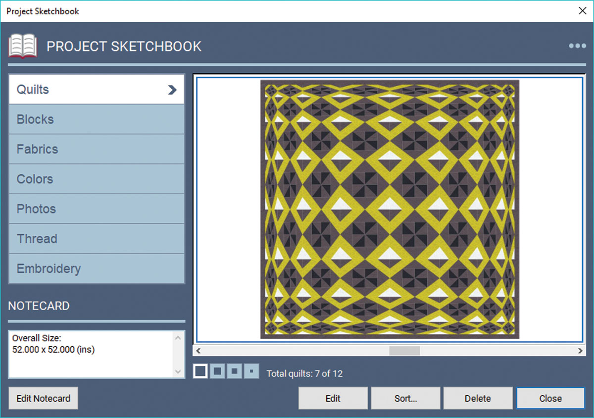 The Blocks and Quilts sections of the Project Sketchbook; selecting a block displays Notecard information instantly in the lower left corner.