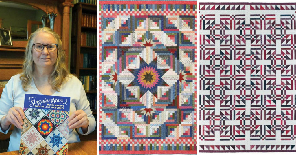 Judy Martin along with two quilts she's designed