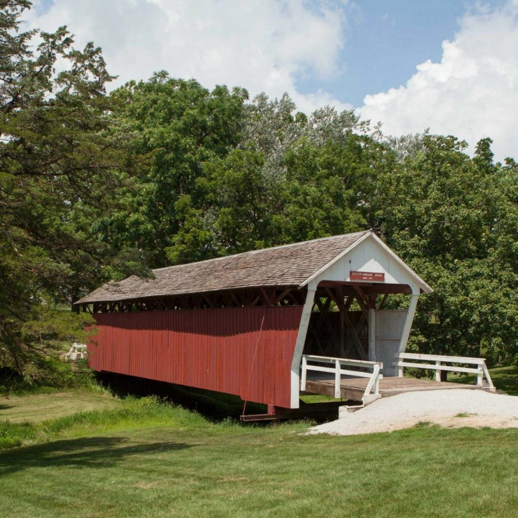 The Cutler-Donahoe Covered Bridge, located in Winterset's City Park