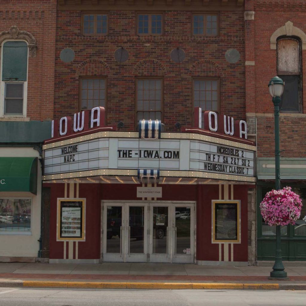 The Iowa Theater in Winterset, renovated by Marianne and Rebecca Fons