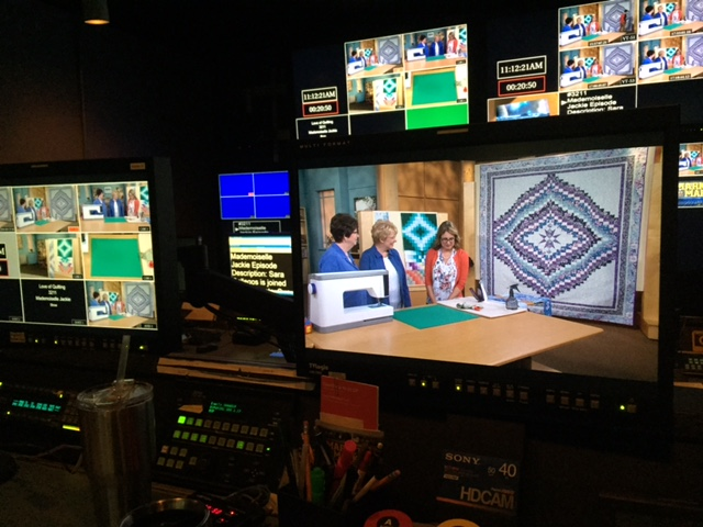 Behind the scenes at Iowa Public Television, you can see Sue Harvey and Sandy Boobar's alternate, queen-sized Bargello quilt pattern on the monitors.