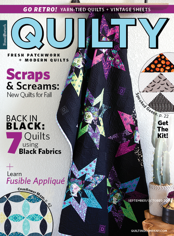 Sisters of the Dark by Krystal Jakelwicz is the quilt quilt pattern featured on the cover of <em>Quilty</em> September/October 2018