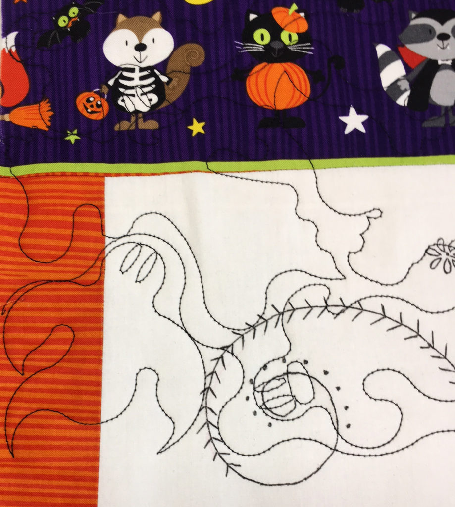Quilting ghosts with black thread