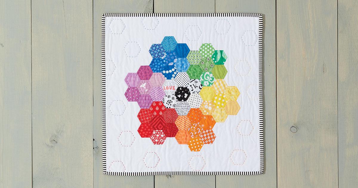 Rainbow Hexie Mini Quilt by Jemima Flendt