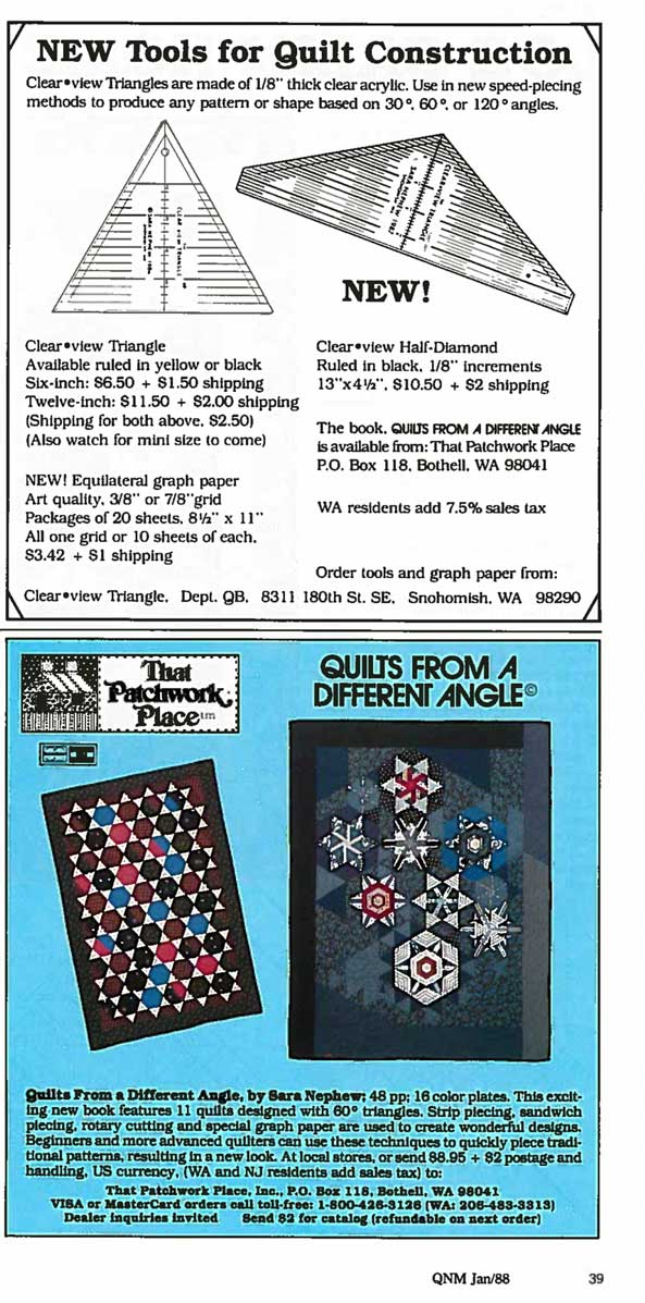 Advertisements from 1988 featuring acrylic triangle rulers and books with rotary cutting techniques