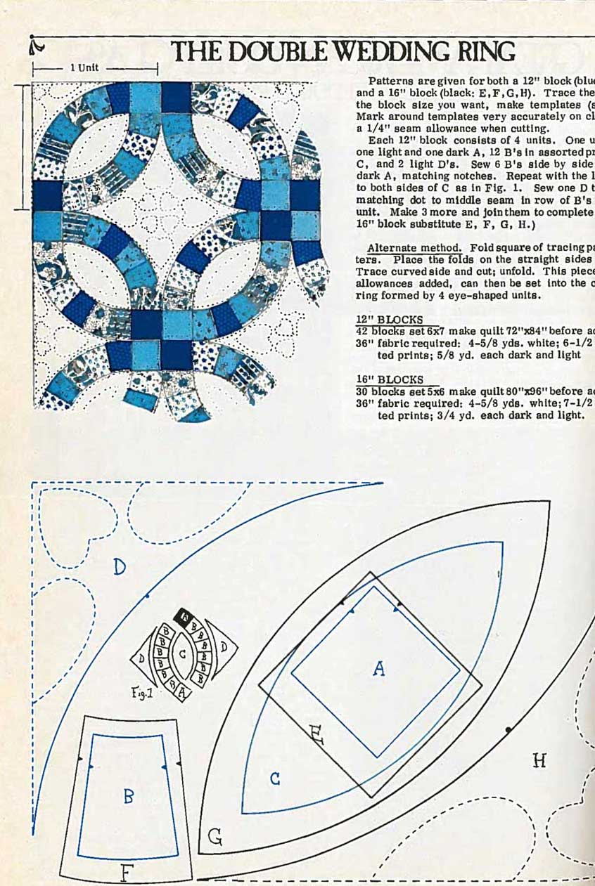 For many years, full-size template patterns in magazines were printed overlapping to save on space, such as this Double Wedding Ring pattern in a 1970s issue of Quilters Newsletter.