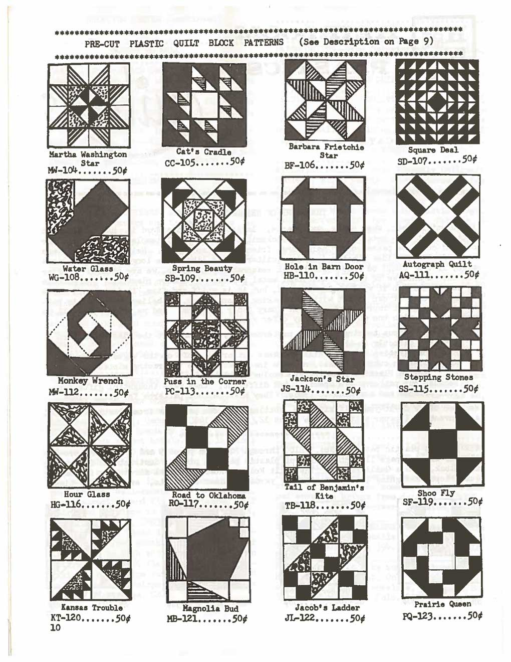 These are a few of the traditional block patterns available as template sets from Heirloom Plastics, from the first issue of Quilters Newsletter, 1969.