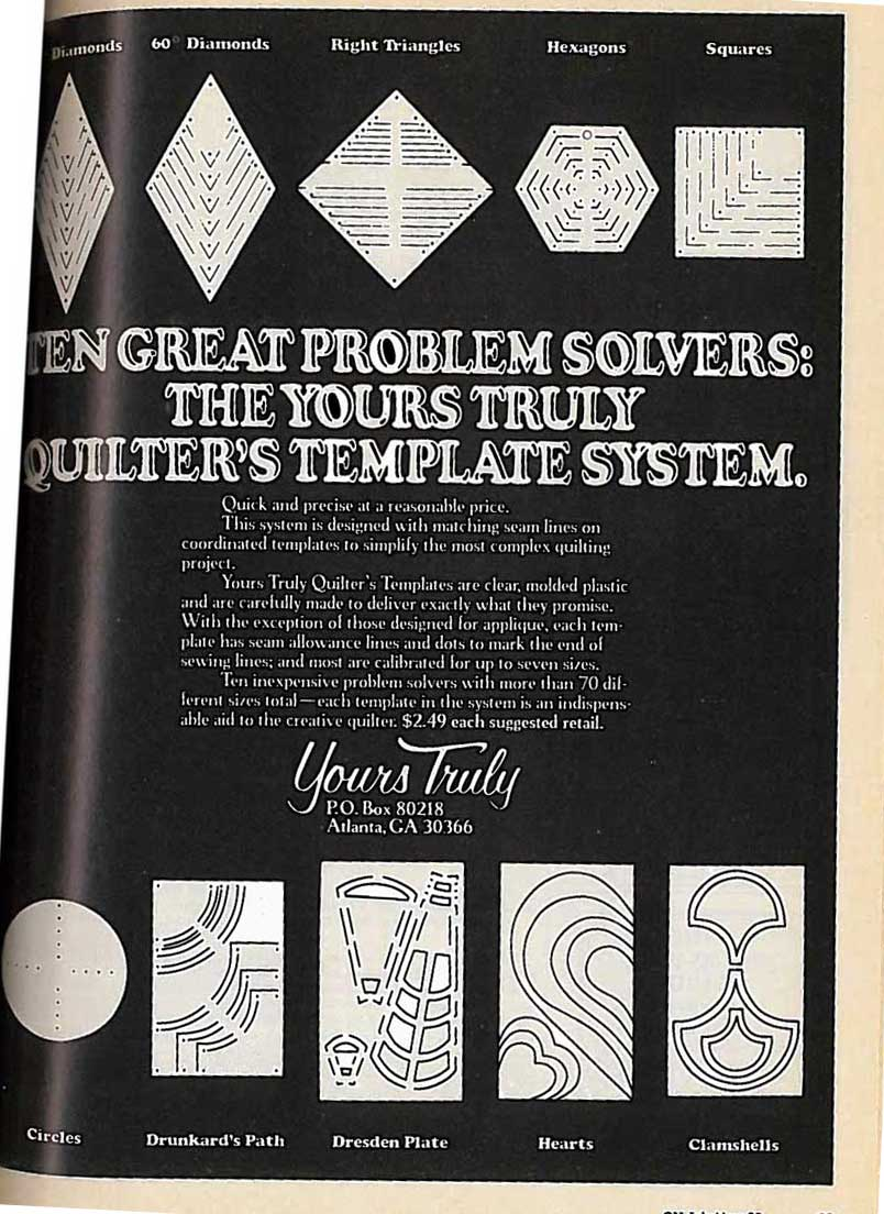 A Yours Truly Template system advertisement from 1980