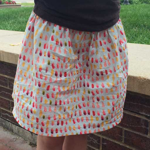 one of the easy skirts I made for my daughters using a cotton lawn from Monaluna's Haiku collection—the wrinkles show that it's well loved.