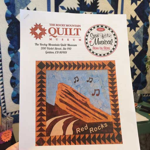 Red Rocks applique quilt block, the Rocky Mountain Quilts Museum's free 2018 Row by Row Experience pattern