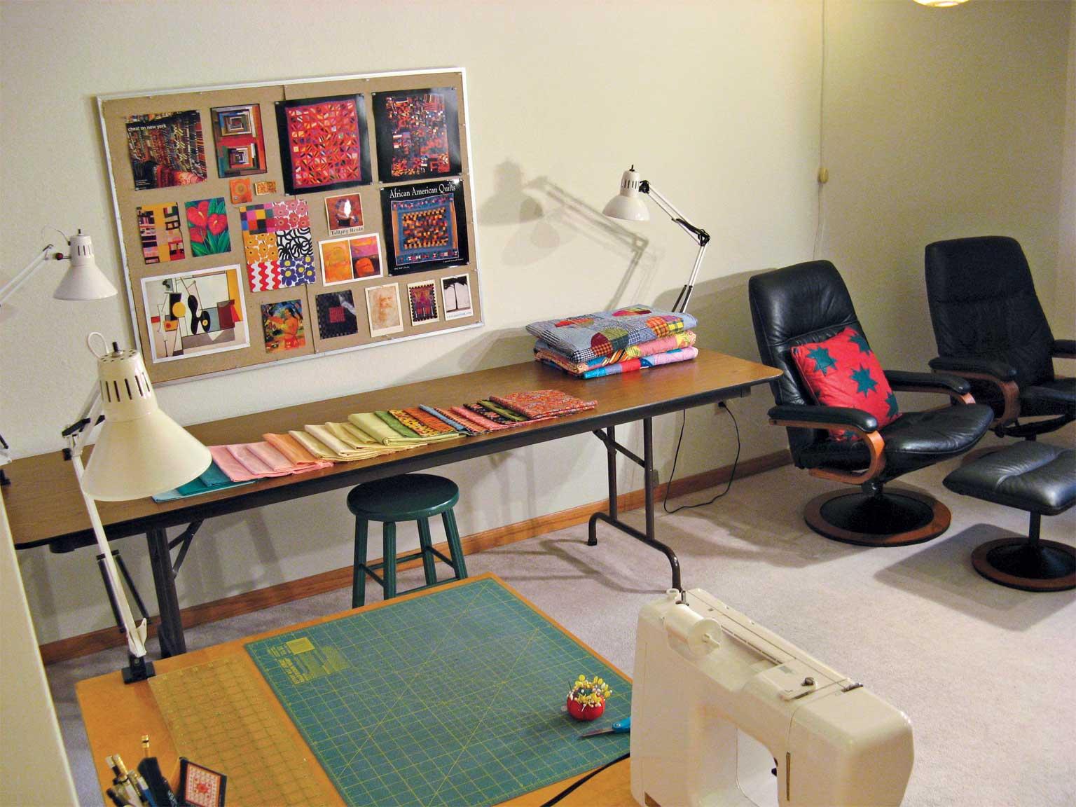 My sewing studio in my living room