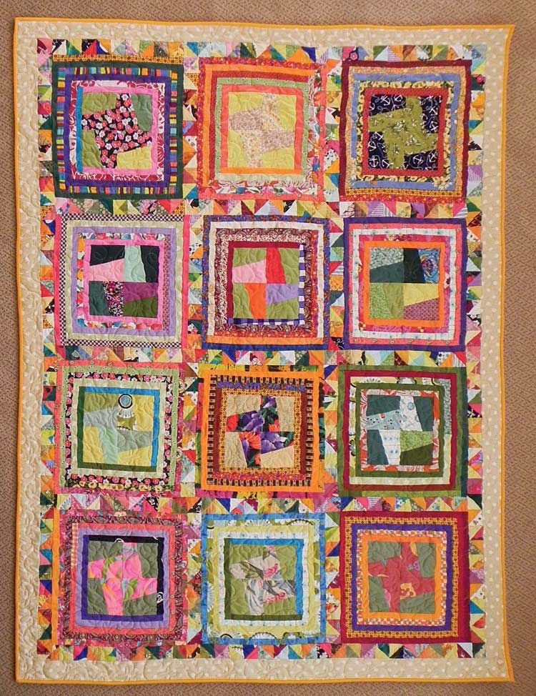 Scrap Patch, 57˝ x 74˝, 2012, by Pam Rocco. This design was inspired by an untitled Anna Williams quilt that appeared in the October 1994 issue of Quilters Newsletter. This quilt appeared in the August/September 2013 issue of Quilters Newsletter https://www.quiltingcompany.com/store/quilters-newsletter-aug-sept-2013-digital-issue