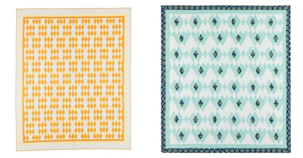 Guide Post: (left) copyright 1930, made in 1934 by an unknown quiltmaker; (right) 64˝ x 72˝, 2016, made by Linda Pumphrey, quilted by Karen K
