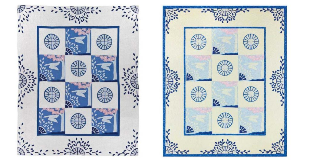 Wild Duck: (left) copyright 1934, made circa 1934 by an unknown quiltmaker; (right) 81˝ x 96˝, 2016, made and quilted by Barbara Grothaus.