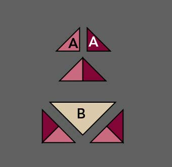<strong>Sewing Triangles </strong> This method works, but so many unsecured bias edges and loose triangles, accuracy becomes harder to achieve.