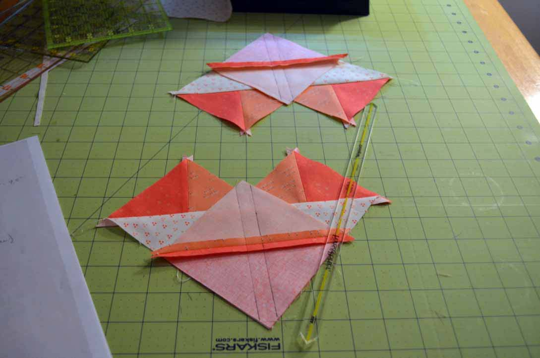 <strong>Experimenting with Triangle-Squares</strong> If it looks like a Flying Geese unit, and quacks like a Flying Geese unit, could we use our Quick-Pieced Flying Geese method?