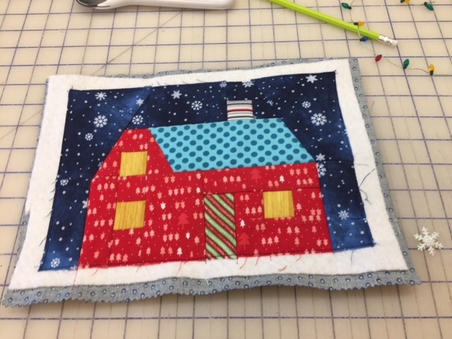 Anissa's First Snow house block pieced and ready to be embellished